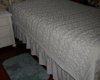 Crocheted Queen Afghan -  Blanket -  Coverlet -  Throw -  Bedspread   ''BOUDOIR''  in White