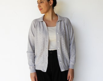 Vintage Gray Cardigan / Cut Out Knit Cradigan / Size L