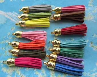 New  100pcs 65mm Gold Cap--assorted Suede Leather Ear Tassel charms