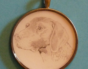 German Short Haired Pointer Original Pencil Drawing Pendant with Organza Pouch -Choice of Necklaces -Free Shipping- Desert Impressions