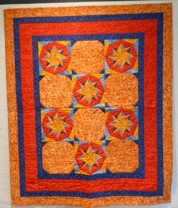 Star foundation pieced wall hanging quilt BATIK by beaquilter