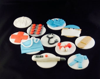 medical doctor cupcake toppers, nurse cake topper, physician assistant, edible fondant toppers, doctor cake topper, fondant cupcake topper