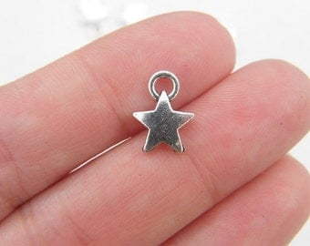 14 Star charms antique silver tone S5