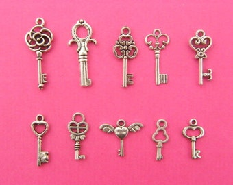 The Key Charms Collection - 10 different  antique silver tone key charms