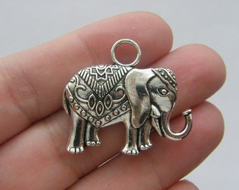 BULK 10 Elephant pendants antique silver tone A507