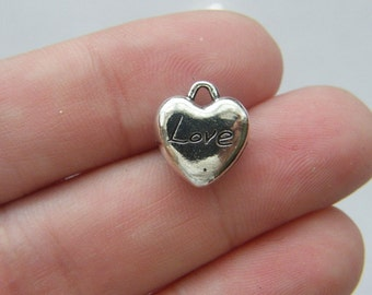 6 Heart charms antique silver tone H64