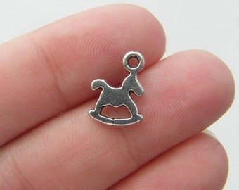 BULK 50 Rocking horse charms antique silver tone BS42 - SALE 50% OFF
