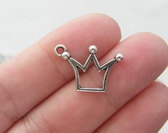 BULK 50 Crown charms antique silver tone CA10