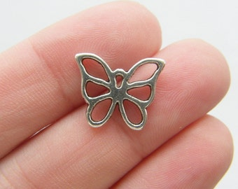 10 Butterfly charms antique silver tone A356