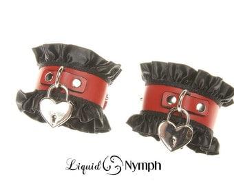 CORRINE Red Leather BDSM Cuffs Pair Heart Lock with Black Satin Ruffle Slave Fetish Kink Jewelry Bracelet - BDSM Wrist Restraints DDlg Cuffs