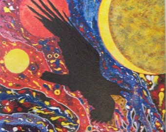 Raven - The Bringer of Magic - Original Abstract Painting