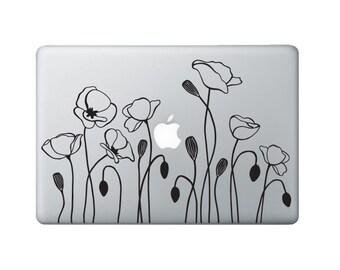 Poppy Flower Laptop Decal - Flower Macbook Decal - California Poppy Flower Decal
