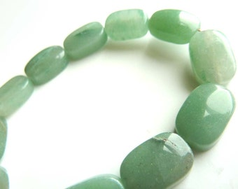 Green Aventurine puff rectangular gemstone beads - 12 beads - Tagt Team