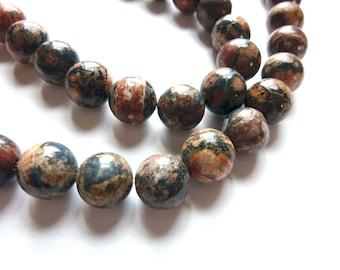 Leopard Jasper Round Beads - Pair - 10mm