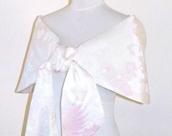 Vintage wedding KIMONO Shawl Butterfly white peacock spring flower opal bow OBI size free ready to ship