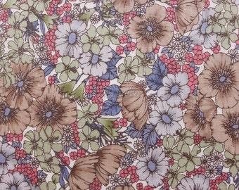SALE - Liberty tana lawn printed in Japan - Gloria flowers - Brown khaki mix