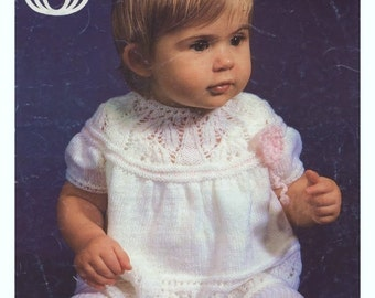 BABY KNITTING PATTERN - Baby Dress 14 - 18 in 3 ply