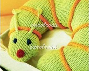 Knitting Pattern - Inchworm Pal for Baby - Toy Buddy Lovie Pillow Cushion  - Bebe Knit