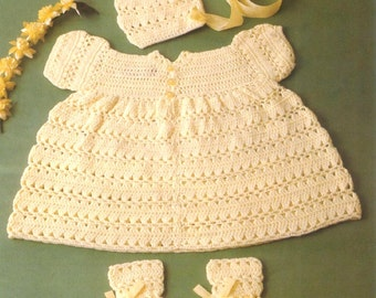 Baby CROCHET PATTERN - Baby Dress Bonnet and Booties in 3ply 16, 18 and 20 inch chest
