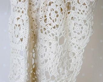CROCHET Pattern - Heirloom Antique Baby Blanket Shawl - Motif crochet