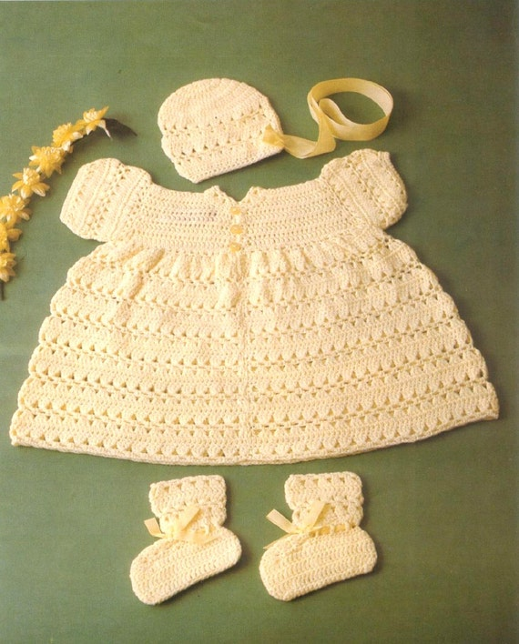 Crochet Baby Bonnet And Booties Pattern : Baby CROCHET PATTERN Baby Dress Bonnet and Booties in 3ply