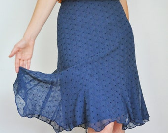 Sale 30% Off : Dusty Blue Embroidered Eyelet Chiffon Godet Knee Skirt ,Vintage Style - S M