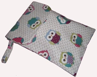 Baby Shower OWL Diaper Nappy and Wipes Case Pouch Travel BAG - Pram Accessory