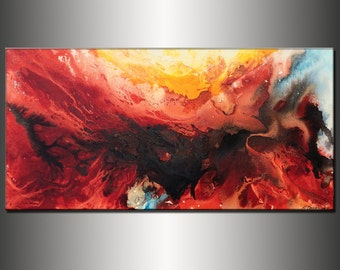 Abstract painting - ORIGINAL Contemporary Modern Fine Art, Colorful Canvas Art, by Henry Parsinia 48x24