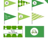 Golf Party - Personalized DIY printable straw flags and napkin rings