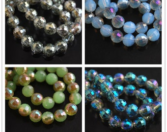 20pcs 8X8mm Round Facted Crystal Glass Charms Loose Spacer Beads Jewelry Making Crafts Findings --- 29 colors YZ007