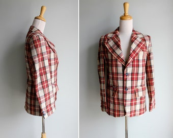 FINAL SALE Vintage Ruby Red Plaid Blazer- 1970's White Black Button Up Jacket Coat Groovy- Size Small or Medium S M