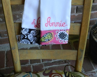 Personalized monogram girl burp cloth set,baby shower gift,new baby gift