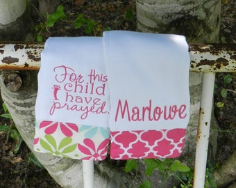 Personalized monogram burp cloth set/baby shower gift/for this child I prayed burp cloth.girl baby gift