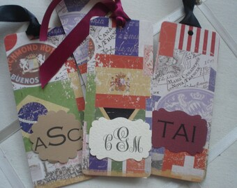 Flags of the World  Personalized Bookmark with Placard monogram