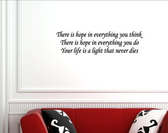 Vinyl wall words quotes and sayings #1068 There is hope in everything you think...