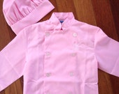 NOW in PINK - Personalized Chef Jacket Hat for Kitchen Use OR Pretend Play Costume - Child's Size Small Medium or Large