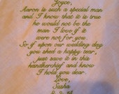 Mother of the GROOM LACE Heirloom Personalized Wedding Handkerchief Custom Embroidered