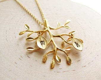 Gold Family Tree Necklace, Personalized Necklace with Initial Charms, Personalized Family Jewelry, Mother Necklace, Gold Mom Necklace