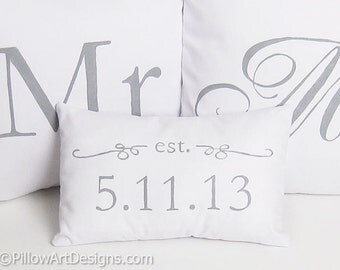 Mr and Mrs Pillow Covers with Mini Est Date Pillow Grey and White Hand Painted Made in Canada