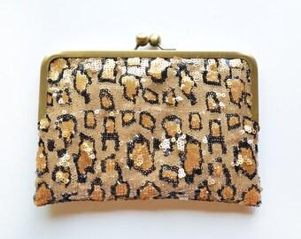 Sequin Animal Print Envelope Kisslock Bridesmaid Gift Custom Silk Wedding Clutches Purse Personalized Bags