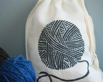 Knitting Bag, Organic Linen Drawstring Bag, Cloth Gift Bag ,  Bread Bag , Produce Bag , Screen Printed with Yarn Design