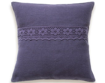 Eggplant Purple Linen Decorative Throw Pillow Cushion Cover Lace Trim 18 inch Square Hand Dyed FIONA DESIGN