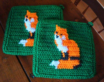 Fox Potholders - Orange and Green - Crochet Potholders, Pot Holders, Hotpads, Hot Pads, Trivet Set of Two, Kitchen, Potholders MADE TO ORDER