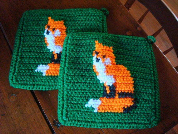 MADE TO ORDER Fox Potholders - Orange and Green - Crochet Potholders, Pot Holders, Hotpads, Hot Pads, Trivet Set of Two, Kitchen, Potholders