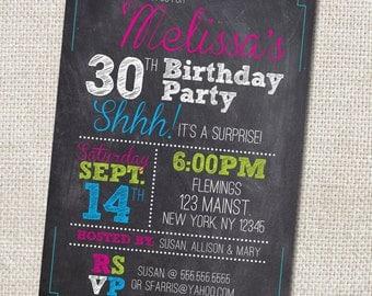 30th Birthday Party invitation Custom Printable