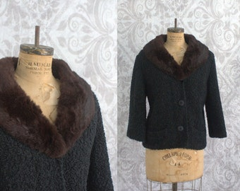 Vintage 1950s Black Jacket Coat 50s Curly Lambswool Jacket with Mink Collar Short Length Womens Size Large