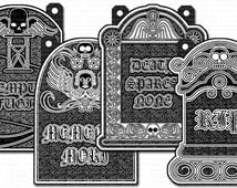 Graveyard Headstones Digital Pictures for Making Halloween Garlands and Decorations