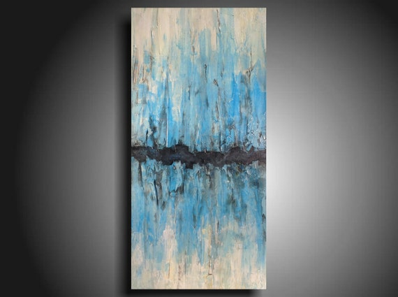 "Original abstract painting Large painting Taupe Blue canvas painting by Artist JMJartstudio abstract painting XXL 24"" X 48"""