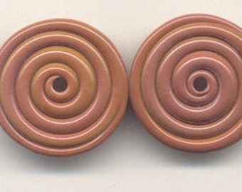 Tom's lampwork opaque red roof tile 2 disc beads spacer drop set, 96538