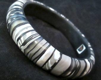 Gray Bangle, Stroppel Bangle, Striped Bracelet, Polymer Clay Bangle, Millefiori Bracelet, Handmade Bangle, Custom Jewelry, Wearable Art